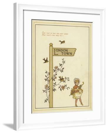 A Sign Post Points the Way to London Town with a Young Girl Walking in That Direction-Thomas Crane-Framed Giclee Print
