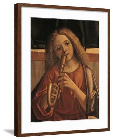 Minstrel Angel, Detail from Presentation of Jesus at Temple-Vittore Carpaccio-Framed Giclee Print