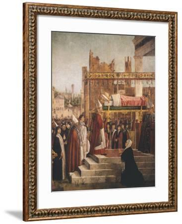 Stories of St. Ursula, Martyrdom of Pilgrims and Funeral of St. Ursula, 1493-Vittore Carpaccio-Framed Giclee Print
