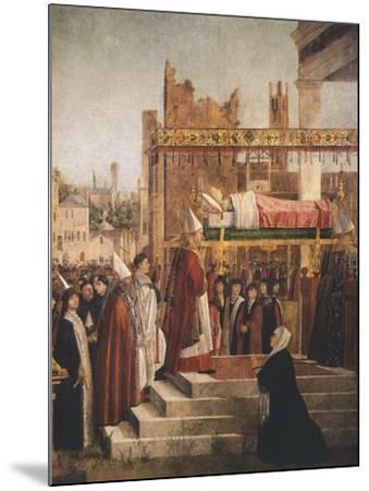 Stories of St. Ursula, Martyrdom of Pilgrims and Funeral of St. Ursula, 1493-Vittore Carpaccio-Mounted Giclee Print