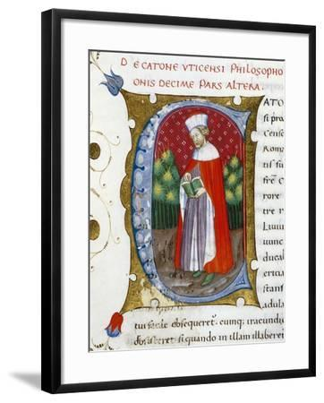Initial Letter C Depicting Marcus Porcius Cato Uticensis, Cato the Younger-Pietro Candido Decembrio-Framed Giclee Print