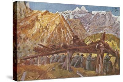 Alpini in the Trenches in Giudicarie Valleys, Italian Propaganda Postcard-Tommaso Cascella-Stretched Canvas Print