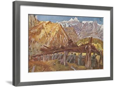 Alpini in the Trenches in Giudicarie Valleys, Italian Propaganda Postcard-Tommaso Cascella-Framed Giclee Print