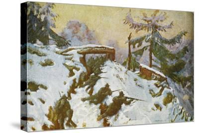 Advanced Trenches, Quota Taround, Soldiers in the Trenches, Italian Propaganda Postcard-Tommaso Cascella-Stretched Canvas Print
