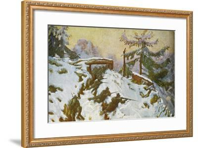 Advanced Trenches, Quota Taround, Soldiers in the Trenches, Italian Propaganda Postcard-Tommaso Cascella-Framed Giclee Print