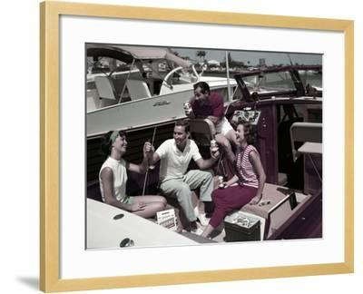 Who Needs to Leave the Dock When There's Beer on Board? the Boaters' Beverage--Framed Photographic Print