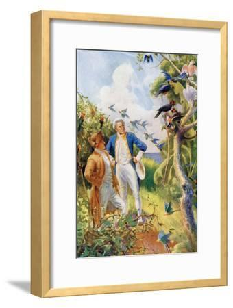 Captain James Cook and Botanist Joseph Banks Examining the Wild Life and Flora in Botany Bay--Framed Giclee Print