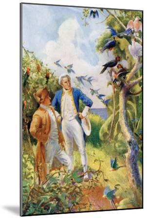 Captain James Cook and Botanist Joseph Banks Examining the Wild Life and Flora in Botany Bay--Mounted Giclee Print