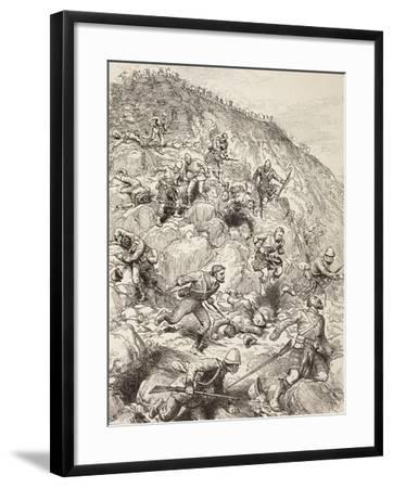 British and Scottish Troops Retreating from the Battle of Majuba Hill During the First Boer War--Framed Giclee Print