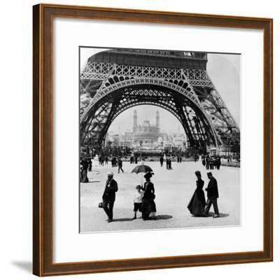 Looking Through the Base of the Eiffel Tower to the Trocadero and Colonial Station--Framed Photographic Print