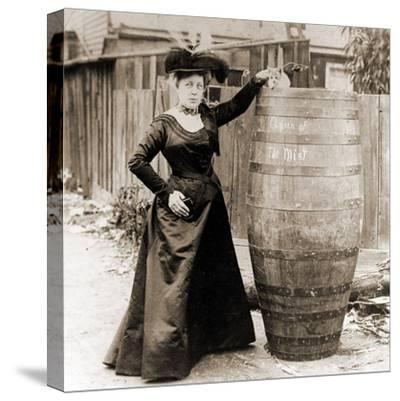 Annie Edson Taylor and the Cat Which Was Sent over the Horseshoe Falls in Her Barrel--Stretched Canvas Print