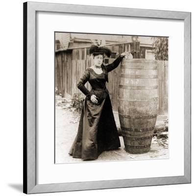 Annie Edson Taylor and the Cat Which Was Sent over the Horseshoe Falls in Her Barrel--Framed Photographic Print