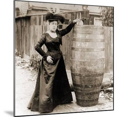 Annie Edson Taylor and the Cat Which Was Sent over the Horseshoe Falls in Her Barrel--Mounted Photographic Print