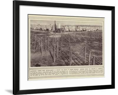 Electrified Barbed-Wire Entanglements to Prevent the Escape of German Prisoners--Framed Photographic Print