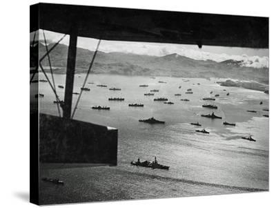 Adak Harbor in the Aleutian Islands with Part of a Huge U.S. Fleet at Anchor--Stretched Canvas Print