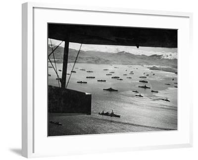 Adak Harbor in the Aleutian Islands with Part of a Huge U.S. Fleet at Anchor--Framed Photographic Print