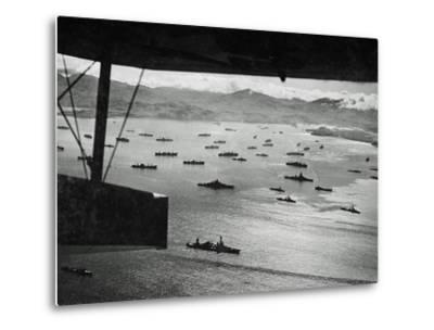 Adak Harbor in the Aleutian Islands with Part of a Huge U.S. Fleet at Anchor--Metal Print
