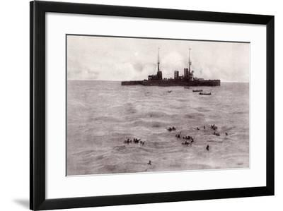 Boats from the British Battle Cruiser Inflexible Rescuing German Survivors from the Gneisenau--Framed Giclee Print