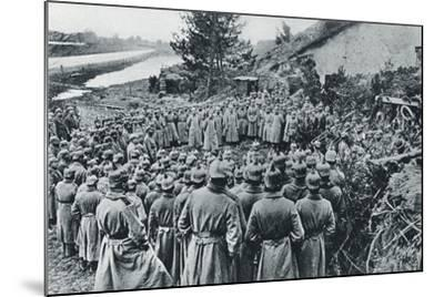 German Soldiers Attending a Divine Service on the Banks of the Aisne Canal During World War I--Mounted Giclee Print
