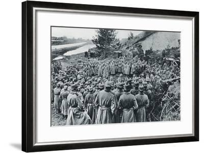 German Soldiers Attending a Divine Service on the Banks of the Aisne Canal During World War I--Framed Giclee Print