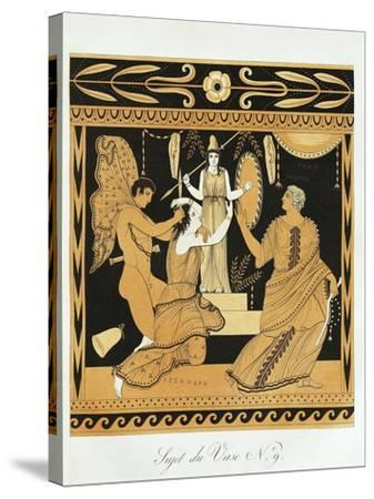 Scene from Ancient Greek Vase with Ajax Affronts Cassandra at the Foot of Athena's Statue--Stretched Canvas Print
