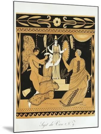 Scene from Ancient Greek Vase with Ajax Affronts Cassandra at the Foot of Athena's Statue--Mounted Giclee Print