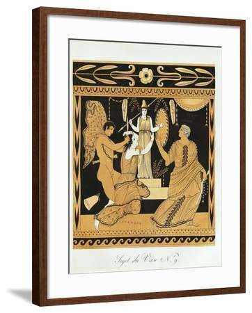Scene from Ancient Greek Vase with Ajax Affronts Cassandra at the Foot of Athena's Statue--Framed Giclee Print