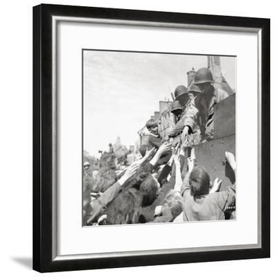 Women and Children Greeting Gis on a Half Track M3A1 Which Is Behind a M4 Sherman Tank--Framed Photographic Print