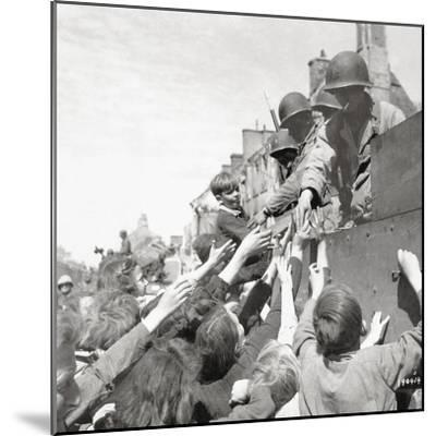 Women and Children Greeting Gis on a Half Track M3A1 Which Is Behind a M4 Sherman Tank--Mounted Photographic Print