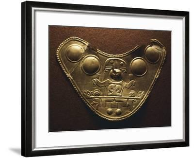 Gold-Leaf Breastplate Showing Anthropomorphic Figures and Two Heraldic Animals--Framed Giclee Print