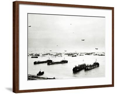 Panorama of Many Ships Which Supply the American Bridgehead--Framed Photographic Print