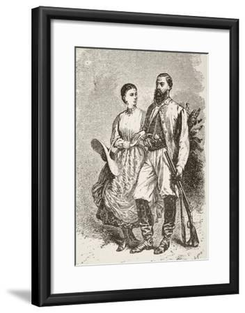Sir Samuel White Baker and His Second Wife Lady Florence Baker--Framed Giclee Print