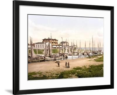 Fishing Boats Moored in Busum with Several Spa Hotels in Background--Framed Photographic Print