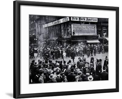 As the Reports of the Sinking of the Titanic Arrived in New York--Framed Photographic Print