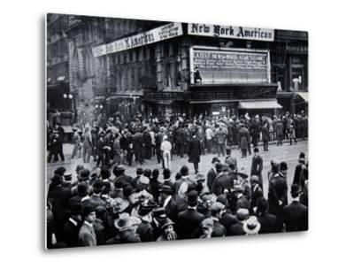 As the Reports of the Sinking of the Titanic Arrived in New York--Metal Print