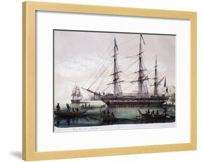 Arrival of Ships Astrolabe and Zelee at Nuku Hiva Island--Framed Giclee Print