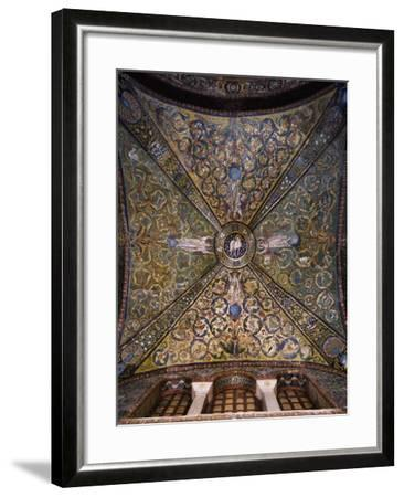 Clipeus with Mystic Lamb Being Supported by Four Angels and Nature Motifs--Framed Photographic Print