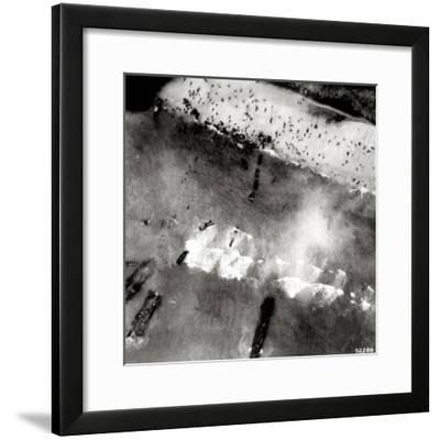 Aerial View of the First Landing with Landing Craft and Allied Soldiers--Framed Photographic Print