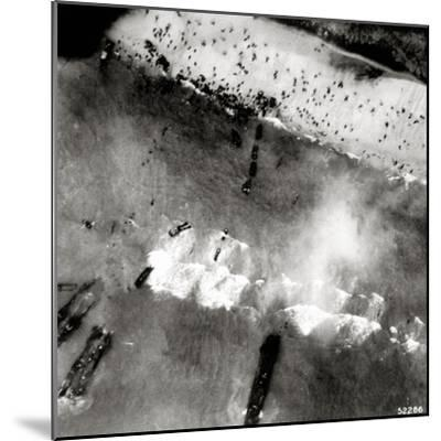 Aerial View of the First Landing with Landing Craft and Allied Soldiers--Mounted Photographic Print