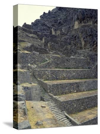 The Staircase Leading to the Fortress in Sacred Valley of Incas--Stretched Canvas Print