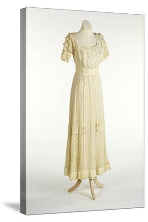 Cream Net Dress Decorated with Machine-Stitched Spot Design--Stretched Canvas Print