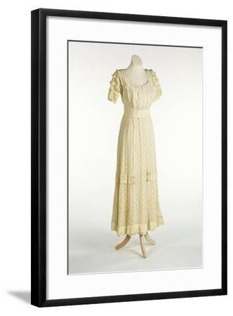 Cream Net Dress Decorated with Machine-Stitched Spot Design--Framed Giclee Print