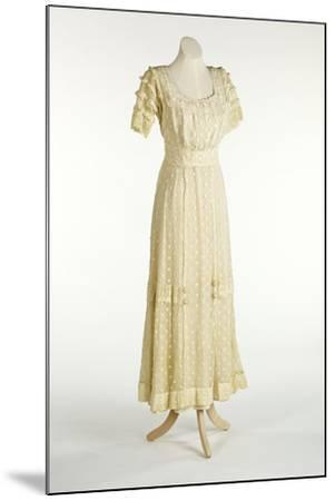 Cream Net Dress Decorated with Machine-Stitched Spot Design--Mounted Giclee Print
