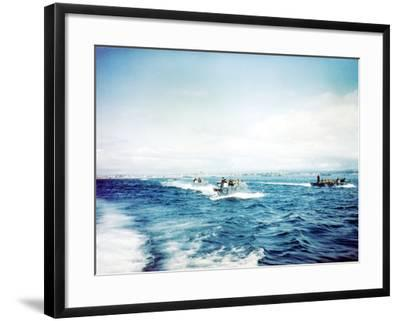 British Navy Landing Crafts Carry United States Army Rangers to a Ship--Framed Photographic Print