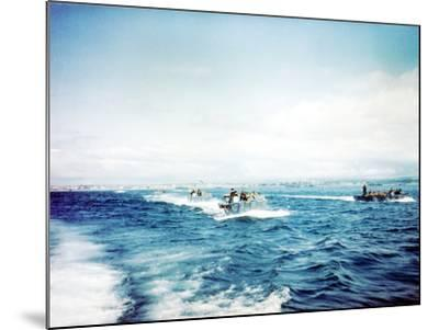 British Navy Landing Crafts Carry United States Army Rangers to a Ship--Mounted Photographic Print