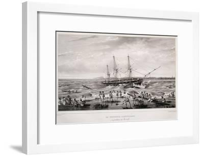 Corvette Astrolabe in Danger on Coral Reef at Island of Tongatapu--Framed Giclee Print