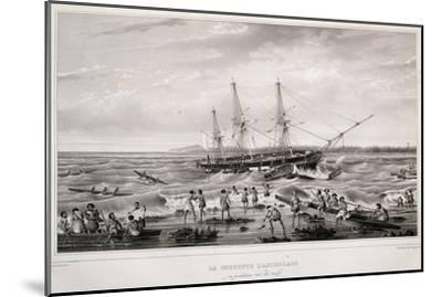Corvette Astrolabe in Danger on Coral Reef at Island of Tongatapu--Mounted Giclee Print
