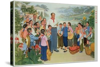 """""""Reporting Our Harvest to Chairman Mao""""--Stretched Canvas Print"""