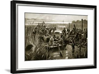 The Building of William's Causeway at Ely--Framed Giclee Print