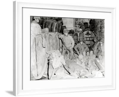 American Soldiers in a Basement with Barrels of Cider--Framed Photographic Print